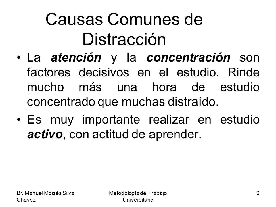 Br. Manuel Moisés Silva Chávez Metodología del Trabajo Universitario 9 Causas Comunes de Distracción La atención y la concentración son factores decis