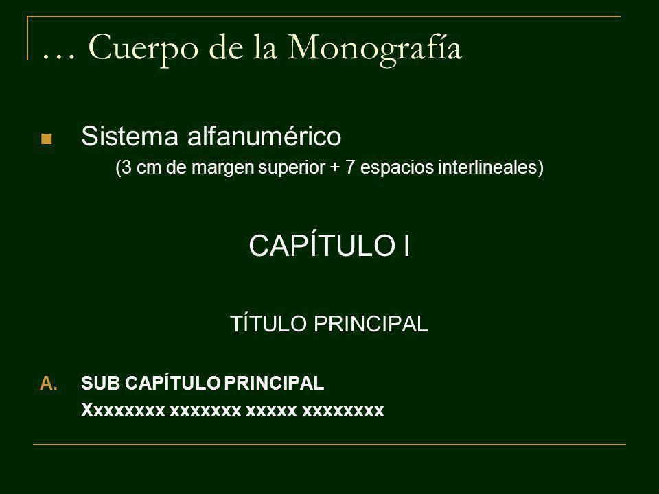 … Cuerpo de la Monografía Sistema alfanumérico (3 cm de margen superior + 7 espacios interlineales) CAPÍTULO I TÍTULO PRINCIPAL A.SUB CAPÍTULO PRINCIP