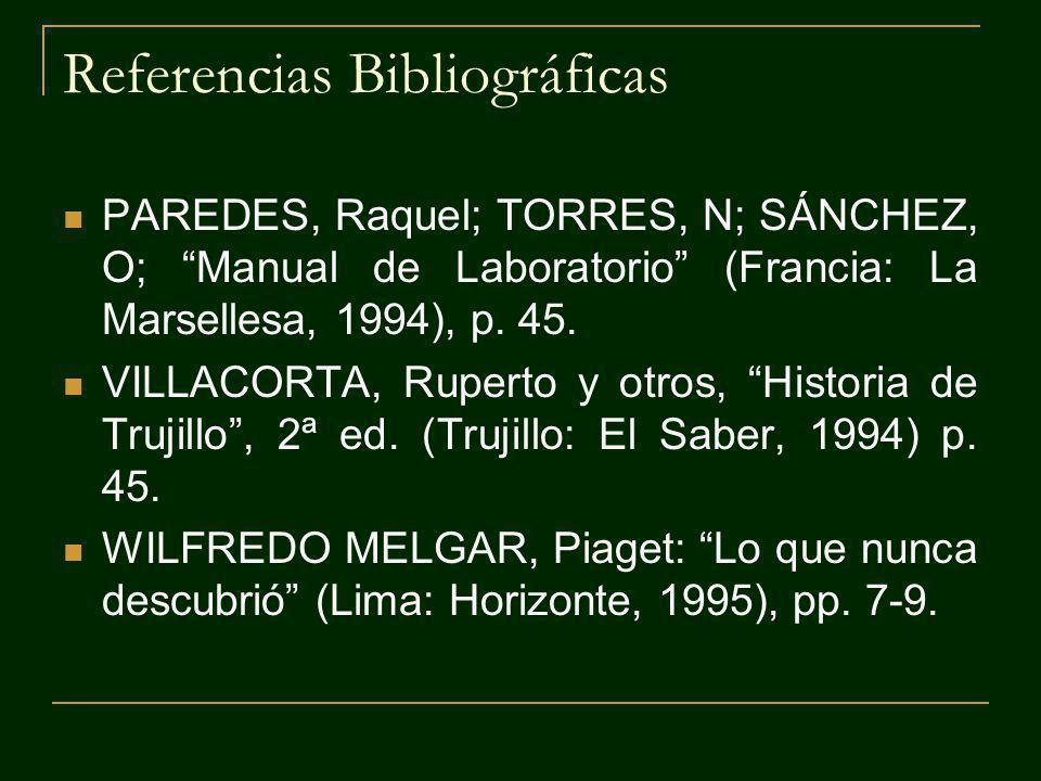 Referencias Bibliográficas PAREDES, Raquel; TORRES, N; SÁNCHEZ, O; Manual de Laboratorio (Francia: La Marsellesa, 1994), p. 45. VILLACORTA, Ruperto y