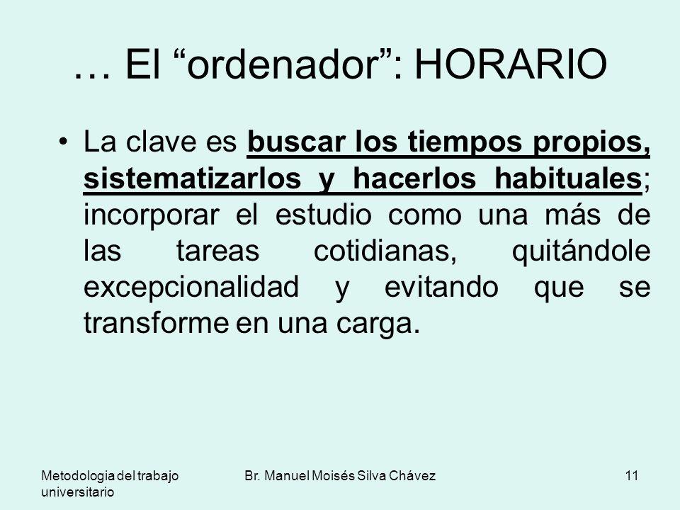 Metodologia del trabajo universitario Br. Manuel Moisés Silva Chávez11 … El ordenador: HORARIO La clave es buscar los tiempos propios, sistematizarlos