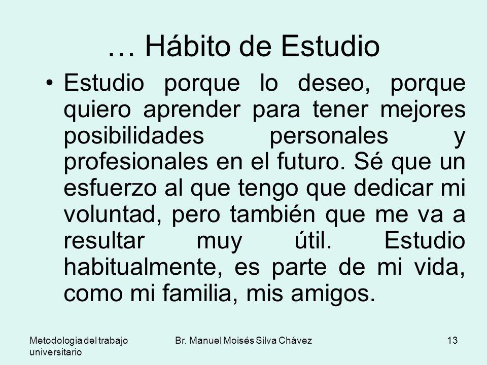 Metodologia del trabajo universitario Br. Manuel Moisés Silva Chávez13 … Hábito de Estudio Estudio porque lo deseo, porque quiero aprender para tener