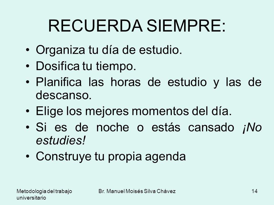 Metodologia del trabajo universitario Br. Manuel Moisés Silva Chávez14 RECUERDA SIEMPRE: Organiza tu día de estudio. Dosifica tu tiempo. Planifica las