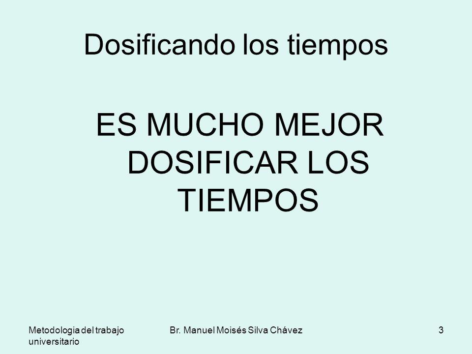 Metodologia del trabajo universitario Br. Manuel Moisés Silva Chávez3 Dosificando los tiempos ES MUCHO MEJOR DOSIFICAR LOS TIEMPOS
