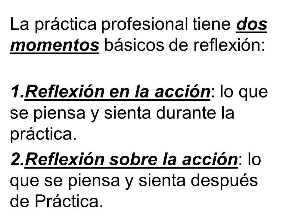 La práctica profesional tiene dos momentos básicos de reflexión: 1.Reflexión en la acción: lo que se piensa y sienta durante la práctica. 2.Reflexión