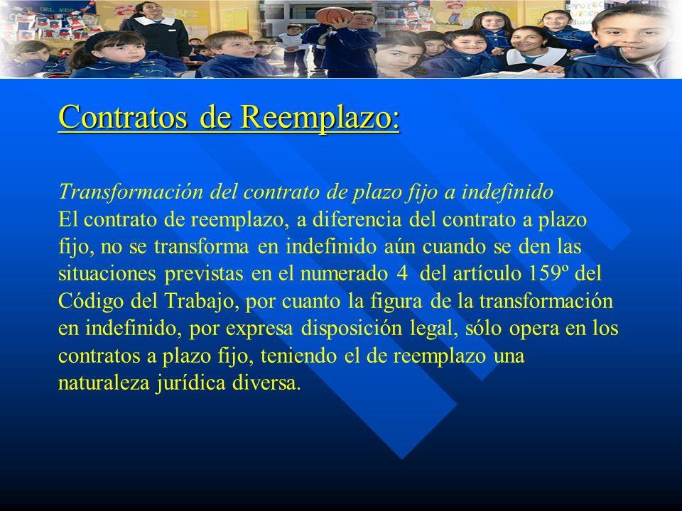 Contratos de Reemplazo: Contratos de Reemplazo: Transformación del contrato de plazo fijo a indefinido El contrato de reemplazo, a diferencia del cont