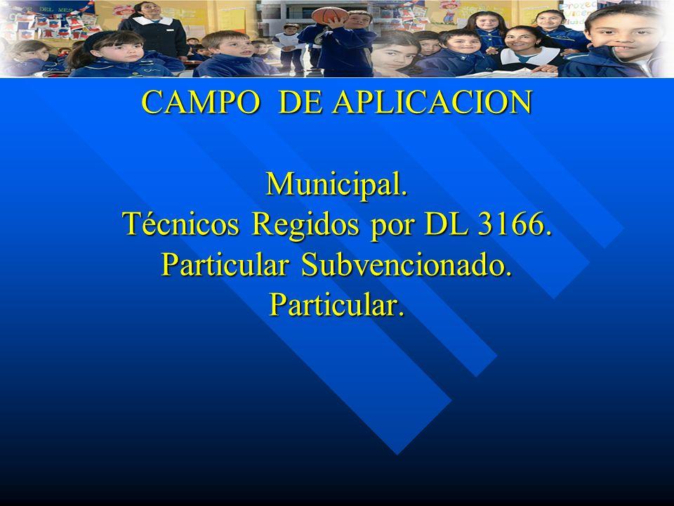 CAMPO DE APLICACION Municipal. Técnicos Regidos por DL 3166.