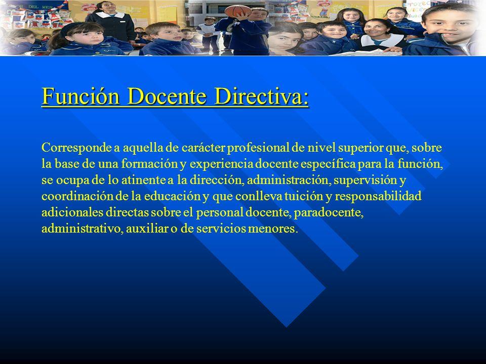 Función Docente Directiva: Función Docente Directiva: Corresponde a aquella de carácter profesional de nivel superior que, sobre la base de una formac