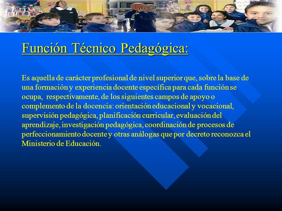 Función Técnico Pedagógica: Función Técnico Pedagógica: Es aquella de carácter profesional de nivel superior que, sobre la base de una formación y exp