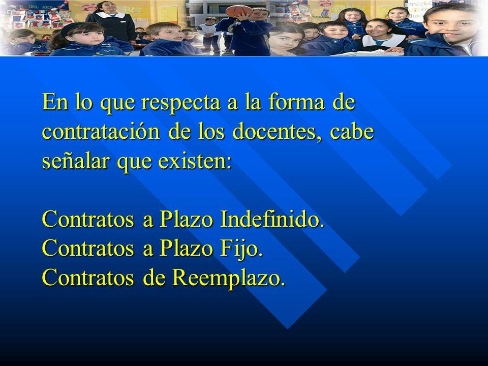 En lo que respecta a la forma de contratación de los docentes, cabe señalar que existen: Contratos a Plazo Indefinido.