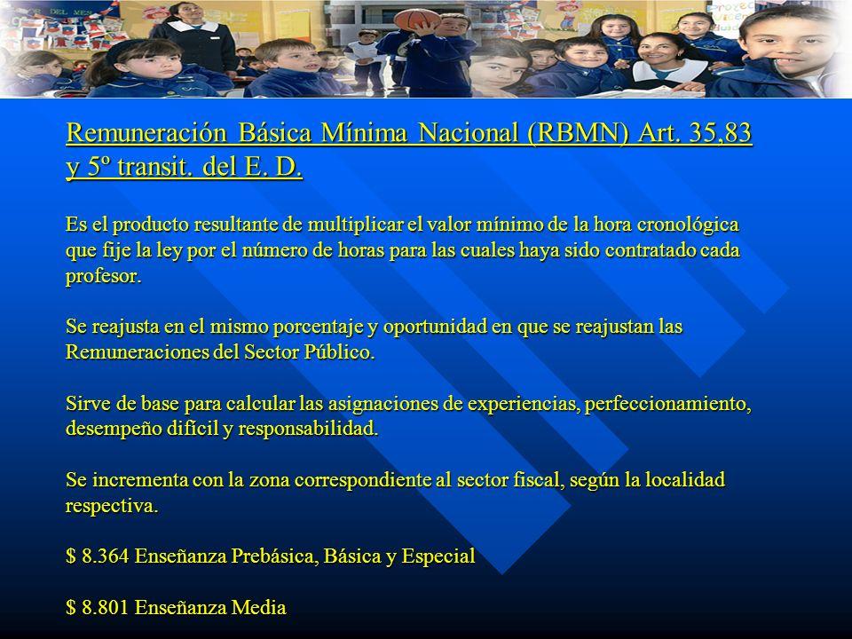 Remuneración Básica Mínima Nacional (RBMN) Art. 35,83 y 5º transit. del E. D. Es el producto resultante de multiplicar el valor mínimo de la hora cron