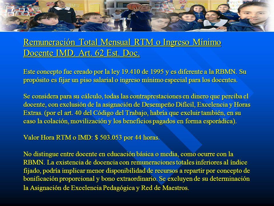 Remuneración Total Mensual RTM o Ingreso Mínimo Docente IMD. Art. 62 Est. Doc. Este concepto fue creado por la ley 19.410 de 1995 y es diferente a la