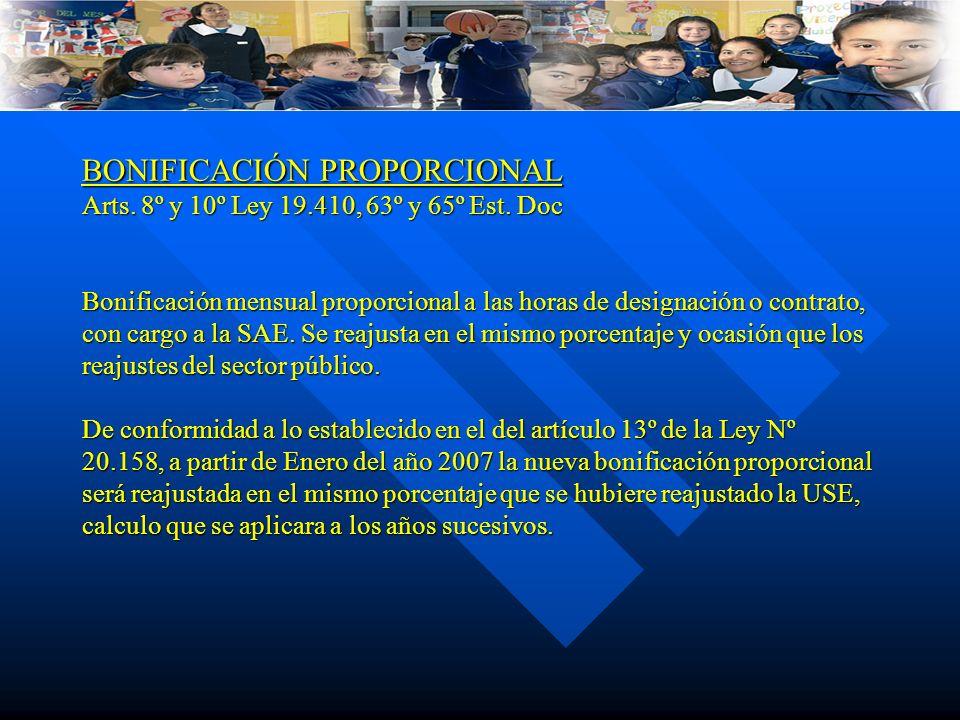 BONIFICACIÓN PROPORCIONAL Arts. 8º y 10º Ley 19.410, 63º y 65º Est. Doc Bonificación mensual proporcional a las horas de designación o contrato, con c