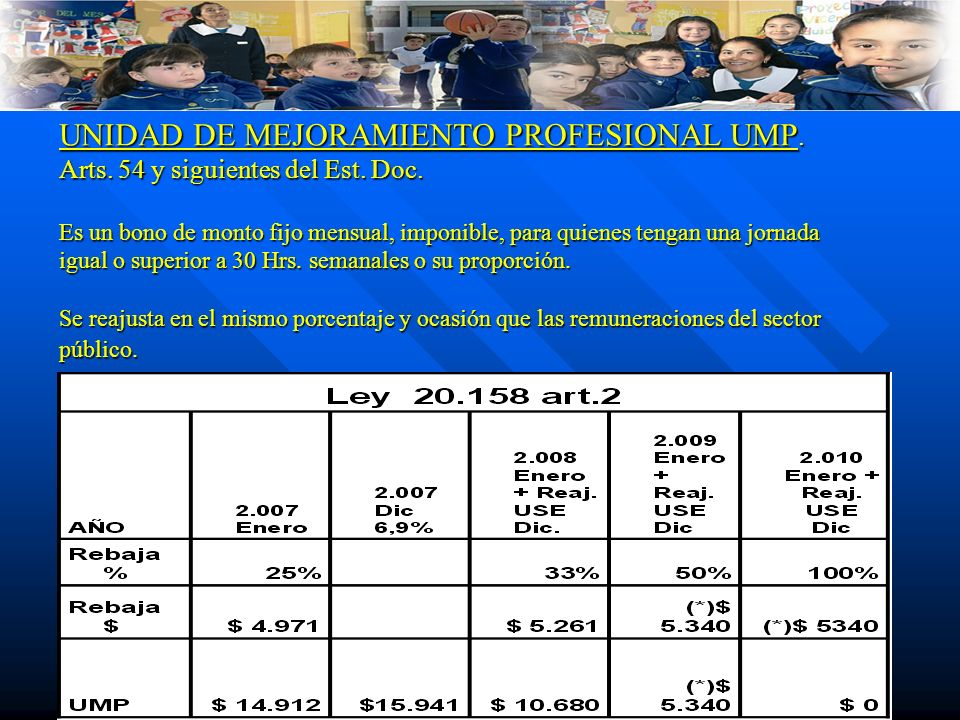 UNIDAD DE MEJORAMIENTO PROFESIONAL UMP. Arts. 54 y siguientes del Est.