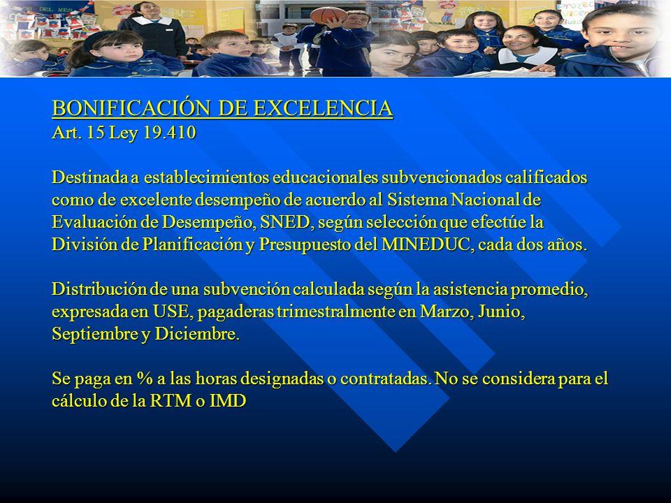 BONIFICACIÓN DE EXCELENCIA Art. 15 Ley 19.410 Destinada a establecimientos educacionales subvencionados calificados como de excelente desempeño de acu