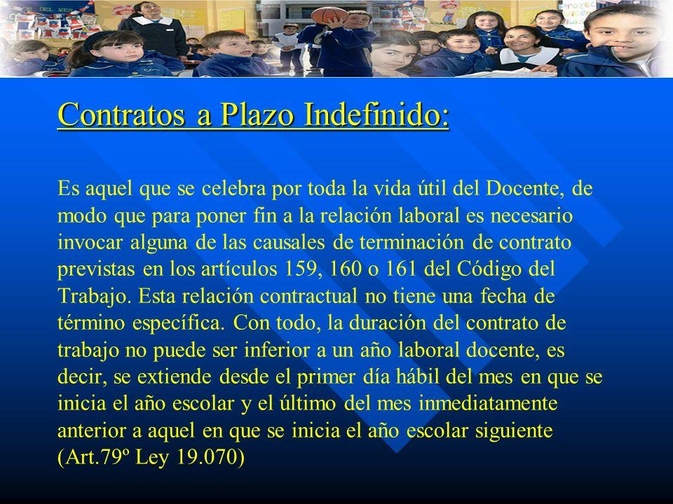 Contratos a Plazo Indefinido: Contratos a Plazo Indefinido: Es aquel que se celebra por toda la vida útil del Docente, de modo que para poner fin a la