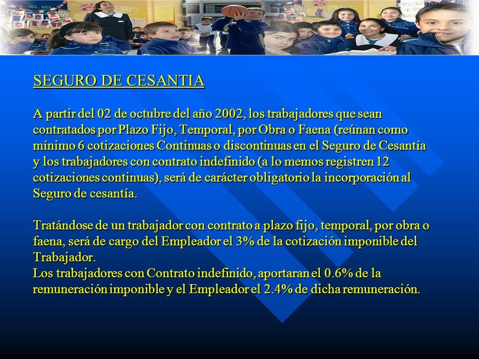 SEGURO DE CESANTIA A partir del 02 de octubre del año 2002, los trabajadores que sean contratados por Plazo Fijo, Temporal, por Obra o Faena (reúnan como mínimo 6 cotizaciones Continuas o discontinuas en el Seguro de Cesantía y los trabajadores con contrato indefinido (a lo memos registren 12 cotizaciones continuas), será de carácter obligatorio la incorporación al Seguro de cesantía.