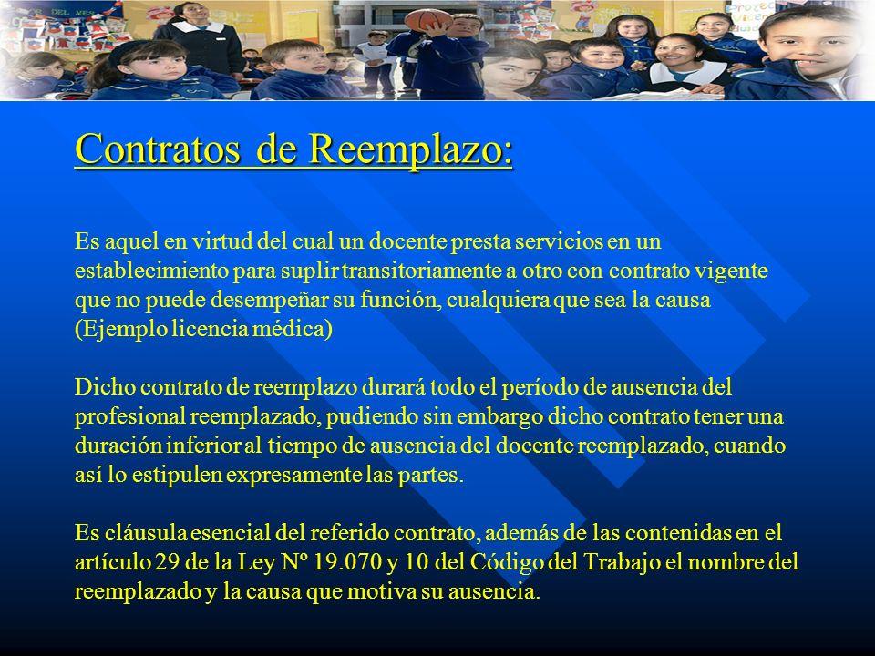 Contratos de Reemplazo: Contratos de Reemplazo: Es aquel en virtud del cual un docente presta servicios en un establecimiento para suplir transitoriam