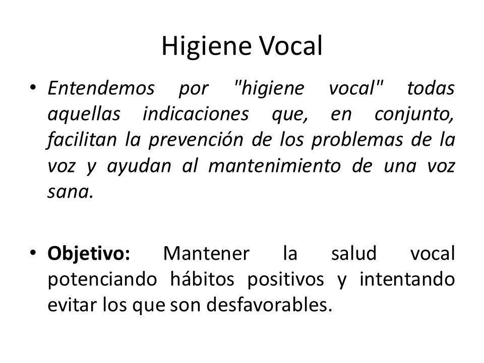 Higiene Vocal Entendemos por