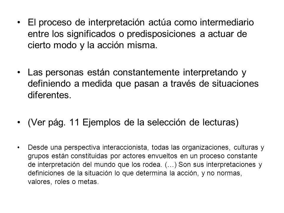 El proceso de interpretación actúa como intermediario entre los significados o predisposiciones a actuar de cierto modo y la acción misma. Las persona