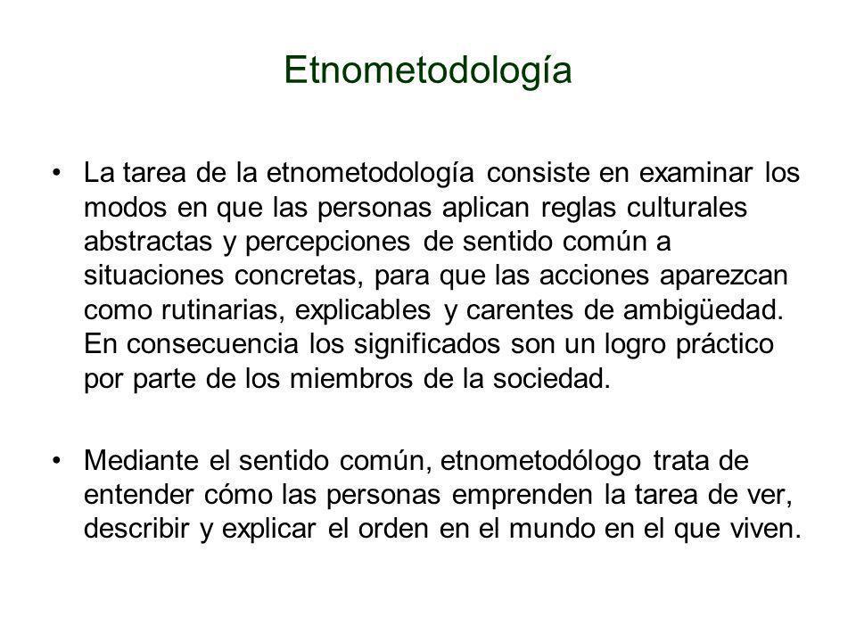 Etnometodología La tarea de la etnometodología consiste en examinar los modos en que las personas aplican reglas culturales abstractas y percepciones