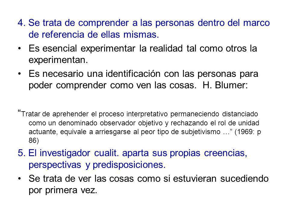 4. Se trata de comprender a las personas dentro del marco de referencia de ellas mismas. Es esencial experimentar la realidad tal como otros la experi