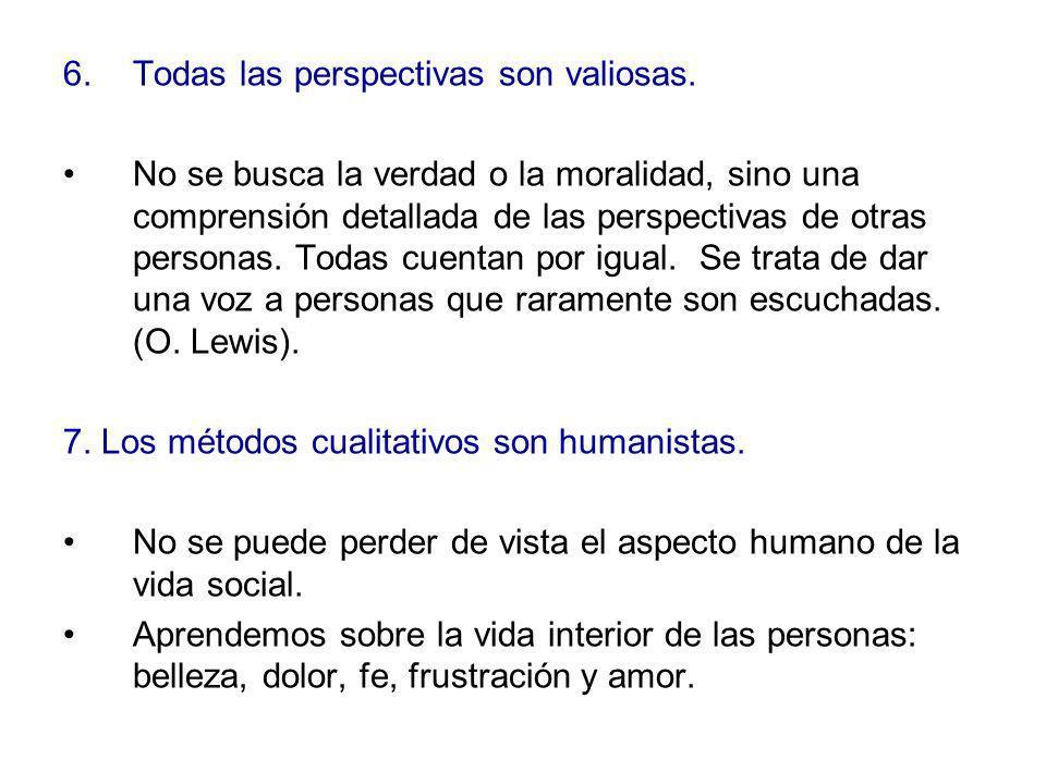6.Todas las perspectivas son valiosas. No se busca la verdad o la moralidad, sino una comprensión detallada de las perspectivas de otras personas. Tod