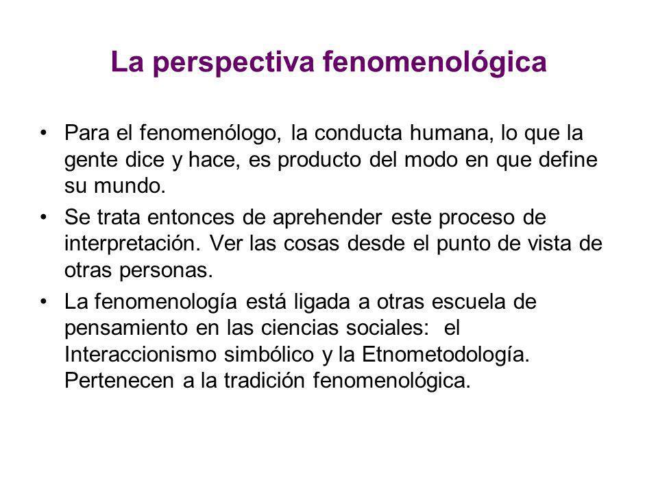 La perspectiva fenomenológica Para el fenomenólogo, la conducta humana, lo que la gente dice y hace, es producto del modo en que define su mundo. Se t
