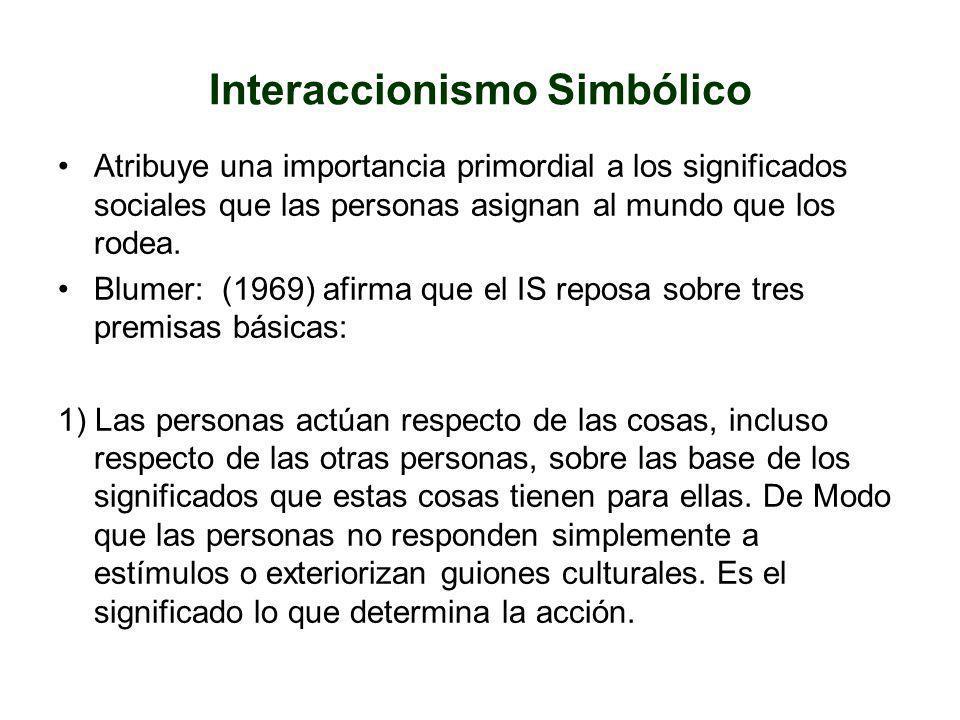 Interaccionismo Simbólico Atribuye una importancia primordial a los significados sociales que las personas asignan al mundo que los rodea. Blumer: (19