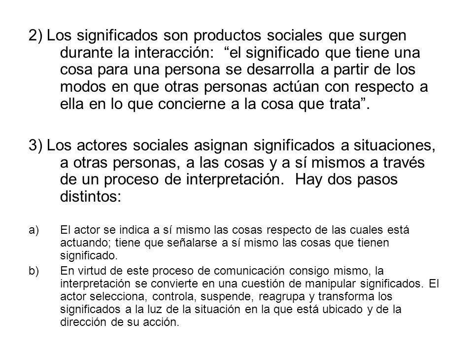 2) Los significados son productos sociales que surgen durante la interacción: el significado que tiene una cosa para una persona se desarrolla a parti