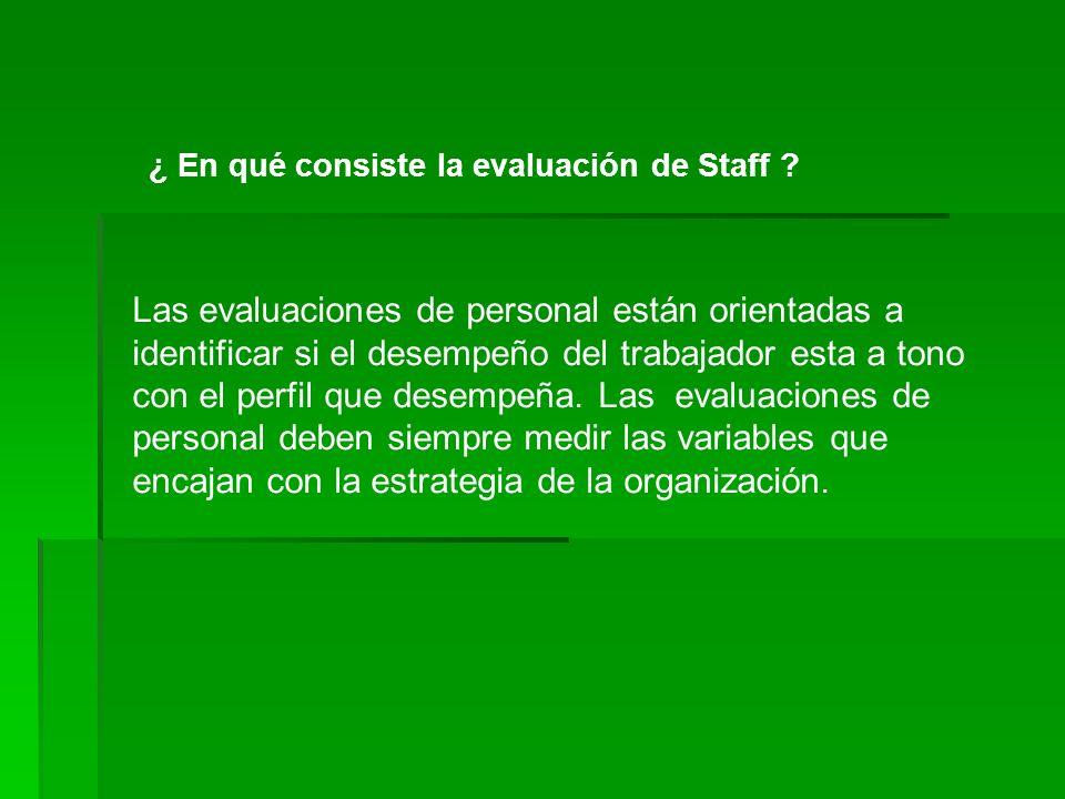 Las evaluaciones de personal están orientadas a identificar si el desempeño del trabajador esta a tono con el perfil que desempeña. Las evaluaciones d