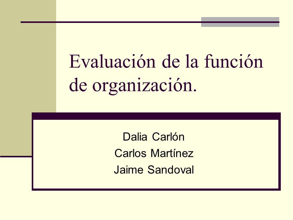 Evaluación de la función de organización. Dalia Carlón Carlos Martínez Jaime Sandoval