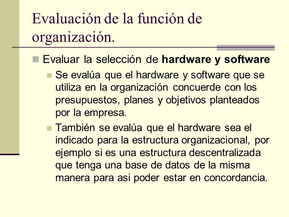 Evaluación de la función de organización. Evaluar la selección de hardware y software Se evalúa que el hardware y software que se utiliza en la organi
