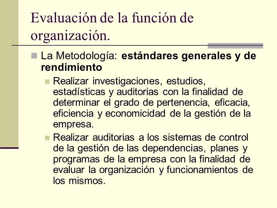 Evaluación de la función de organización. La Metodología: estándares generales y de rendimiento Realizar investigaciones, estudios, estadísticas y aud