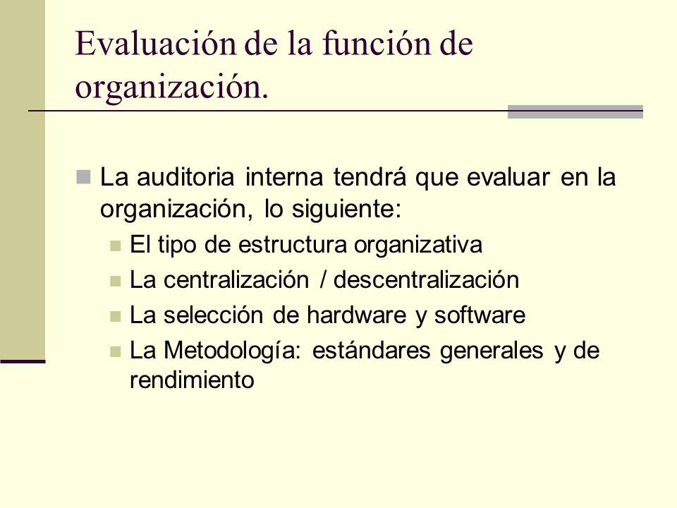 Evaluación de la función de organización. La auditoria interna tendrá que evaluar en la organización, lo siguiente: El tipo de estructura organizativa