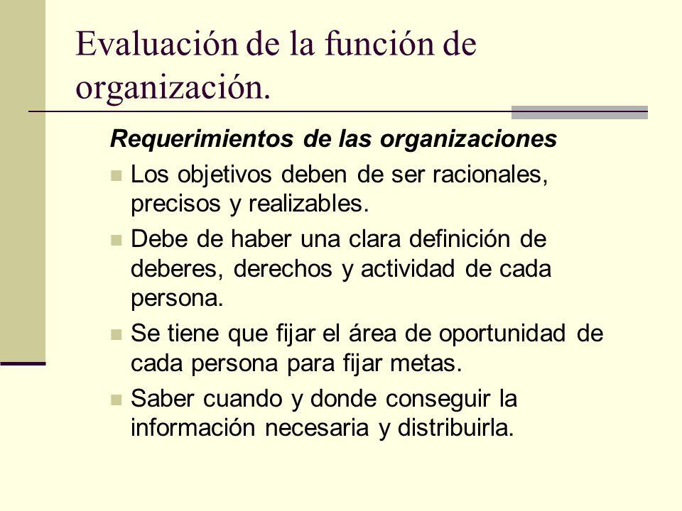 Evaluación de la función de organización. Requerimientos de las organizaciones Los objetivos deben de ser racionales, precisos y realizables. Debe de