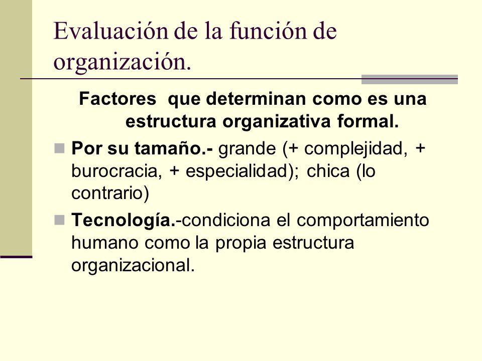 Evaluación de la función de organización. Factores que determinan como es una estructura organizativa formal. Por su tamaño.- grande (+ complejidad, +
