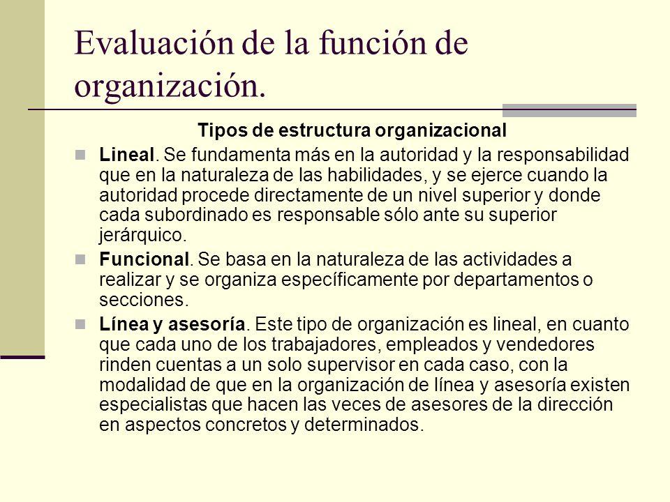 Evaluación de la función de organización. Tipos de estructura organizacional Lineal. Se fundamenta más en la autoridad y la responsabilidad que en la