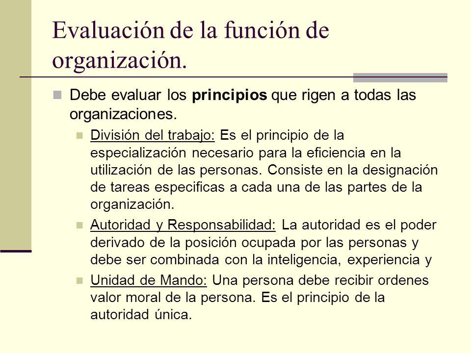 Evaluación de la función de organización. Debe evaluar los principios que rigen a todas las organizaciones. División del trabajo: Es el principio de l