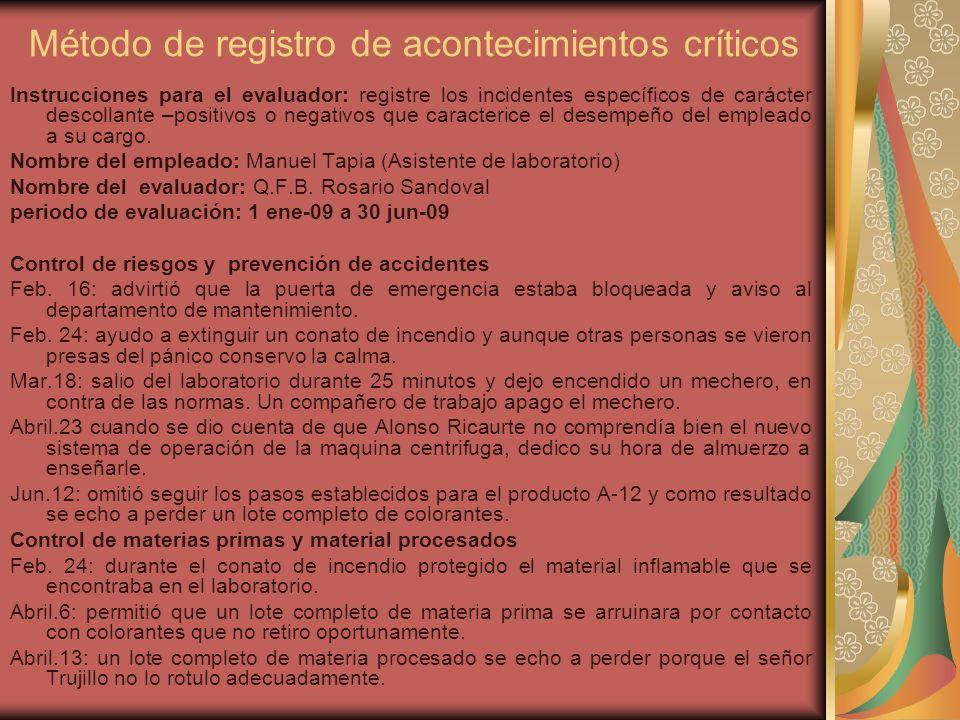 Instrucciones para el evaluador: registre los incidentes específicos de carácter descollante –positivos o negativos que caracterice el desempeño del empleado a su cargo.