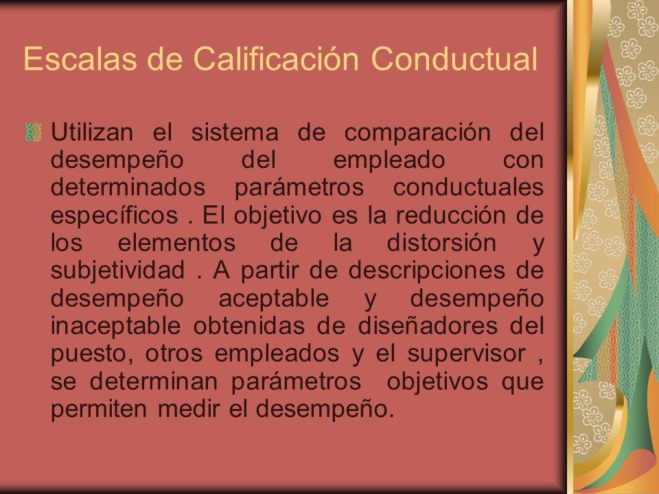 Escalas de Calificación Conductual Utilizan el sistema de comparación del desempeño del empleado con determinados parámetros conductuales específicos.
