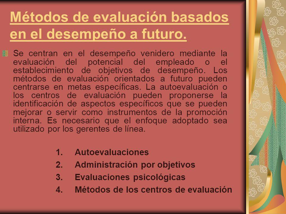 Métodos de evaluación basados en el desempeño a futuro.