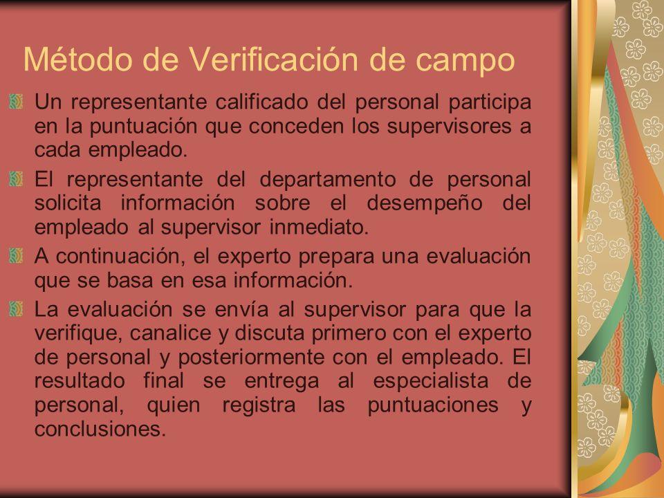 Método de Verificación de campo Un representante calificado del personal participa en la puntuación que conceden los supervisores a cada empleado.