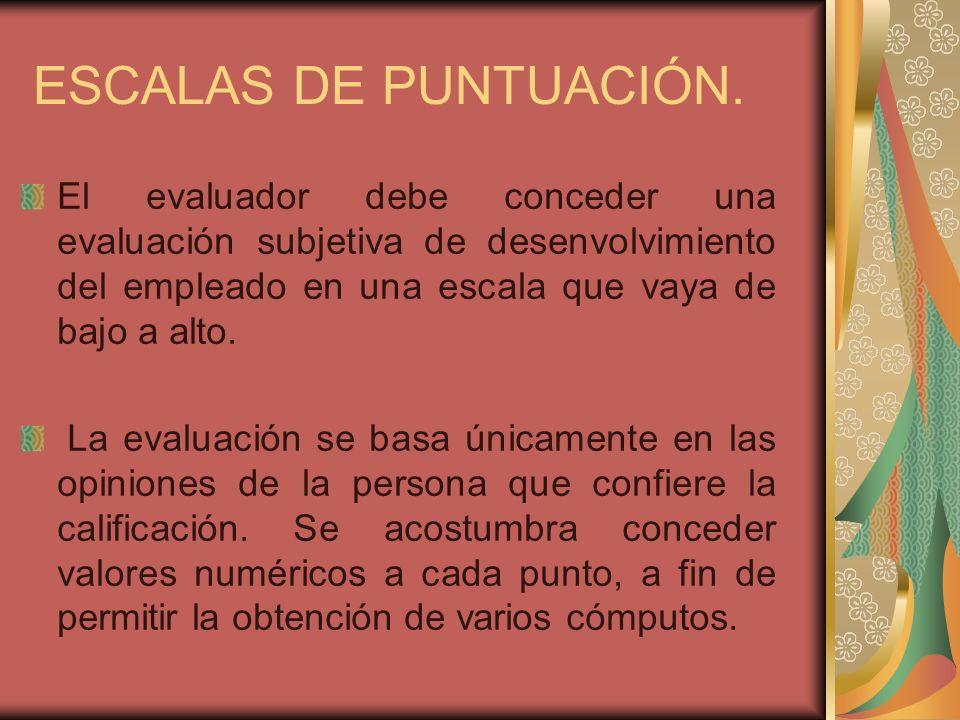 ESCALAS DE PUNTUACIÓN.