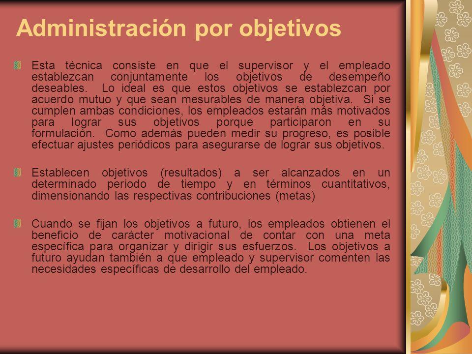 Administración por objetivos Esta técnica consiste en que el supervisor y el empleado establezcan conjuntamente los objetivos de desempeño deseables.