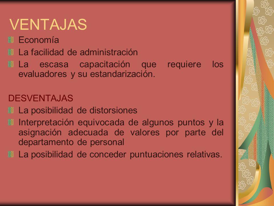 VENTAJAS Economía La facilidad de administración La escasa capacitación que requiere los evaluadores y su estandarización.