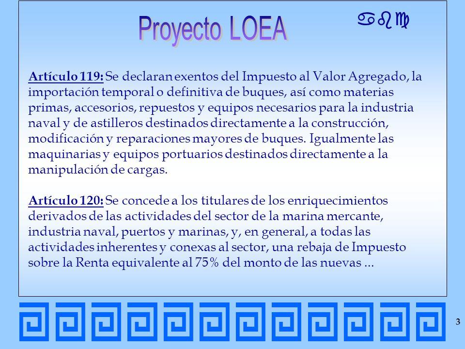 abc Artículo 119: Se declaran exentos del Impuesto al Valor Agregado, la importación temporal o definitiva de buques, así como materias primas, acceso