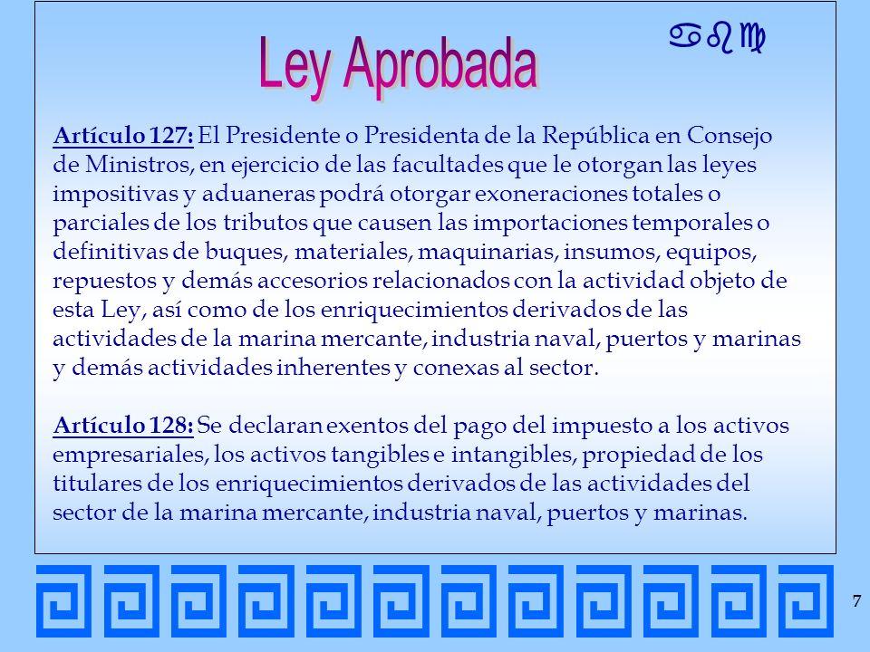 abc 7 Artículo 127: El Presidente o Presidenta de la República en Consejo de Ministros, en ejercicio de las facultades que le otorgan las leyes imposi