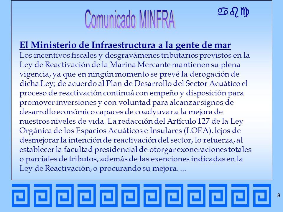 abc El Ministerio de Infraestructura a la gente de mar Los incentivos fiscales y desgravámenes tributarios previstos en la Ley de Reactivación de la M
