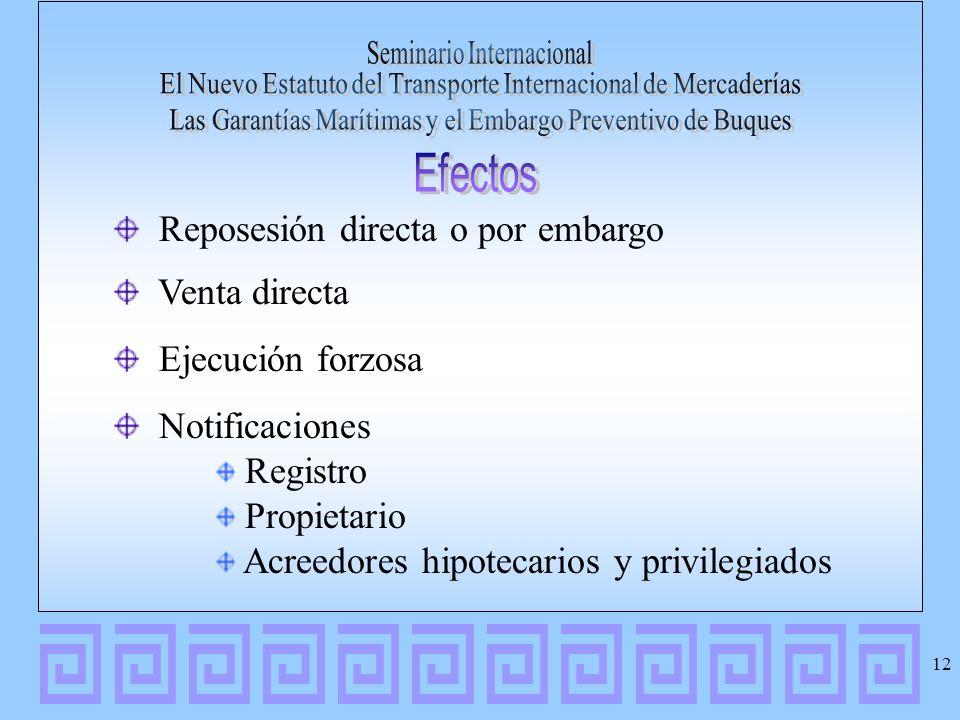 Reposesión directa o por embargo Venta directa Ejecución forzosa Notificaciones Registro Propietario Acreedores hipotecarios y privilegiados 12