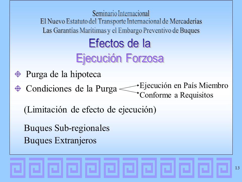 Purga de la hipoteca Condiciones de la Purga (Limitación de efecto de ejecución) Buques Sub-regionales Buques Extranjeros Ejecución en País Miembro Co